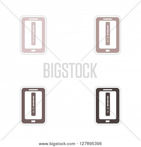 Set of paper stickers on white  background mobile phone temperature