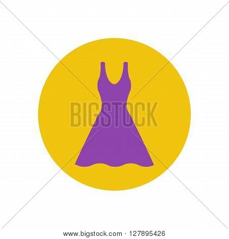 Dress vector illustration on the yellow background. Dress icon