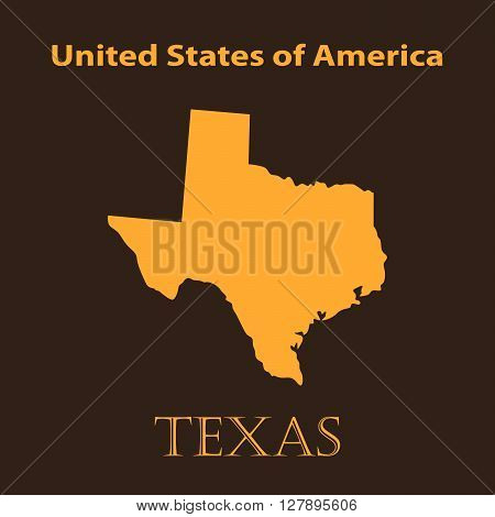 Orange map of the State of Texas - vector illustration. Simple flat map State of Texas.