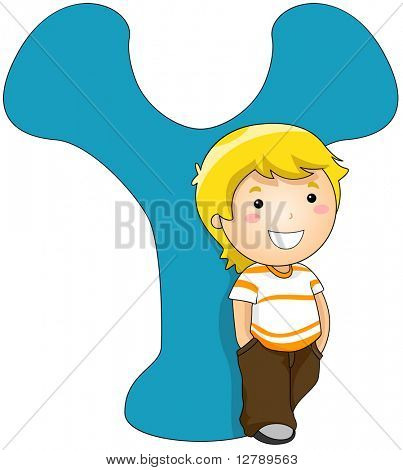 Illustration of a Boy Standing Beside a Letter Y