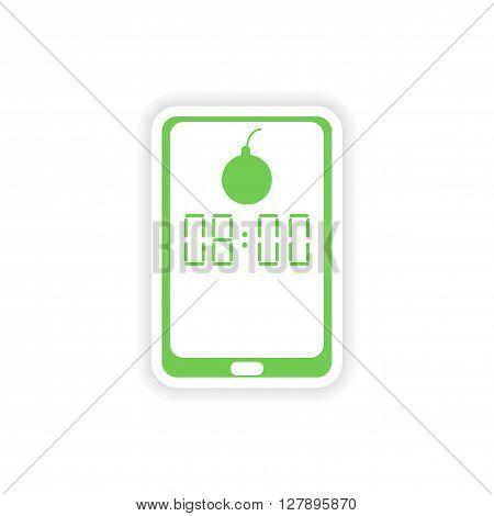 paper sticker on white background  Mobile Phone alarm clock