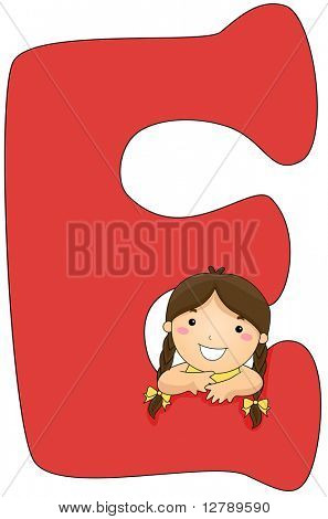 Illustration of a Little Girl Resting Her Arms on a Letter E
