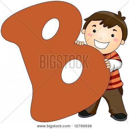 Illustration of a Little Boy Hiding Behind a Letter B