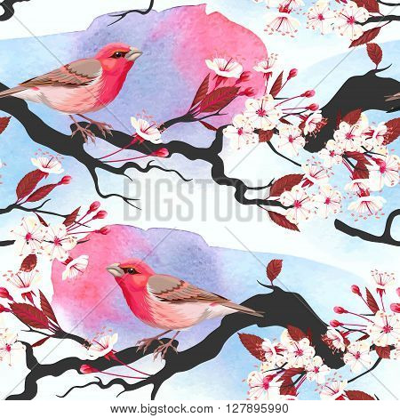 Pink bird on blooming cherry branch vector seamless background