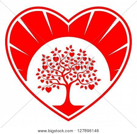 vector heart tree in heart isolated on white background