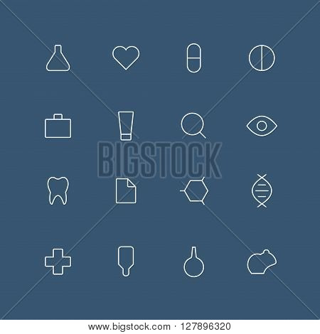 Medical and laboratory thin outline icon set with rounded corners - different symbols on the dark background