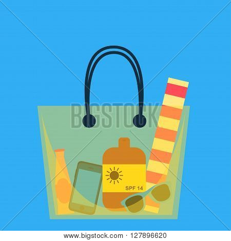 Beach bag. Vector illustration. Beach bag with beach accessories. Yellow big beach bag. Flat design