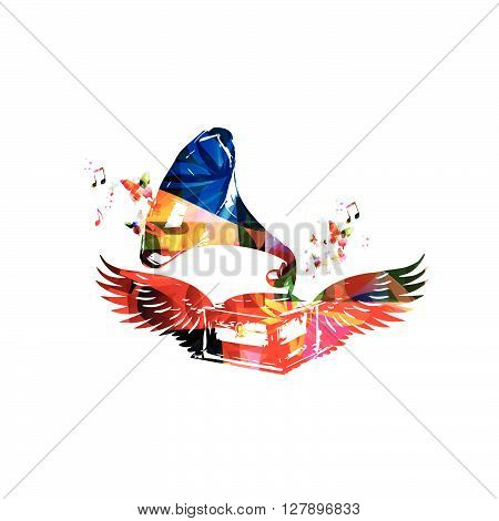 Vector illustration of colorful gramophone with wings