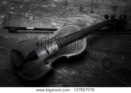 Violin black and white artistic conversion with low lighting