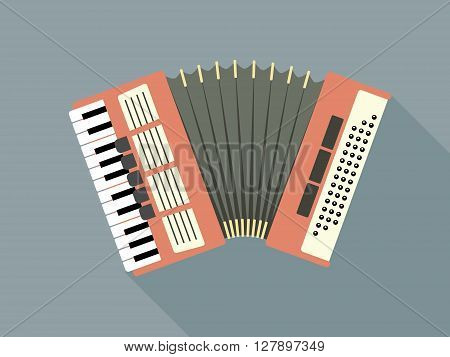 Flat Design Vector Illustration Of A Pink Accordion