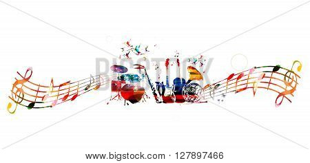 Vector illustration of colorful music instruments with music notes