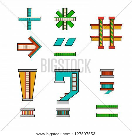 vector illustration symbols and signs for alphabet drawn in the form of a house. The letters of the alphabet to teach children reading.