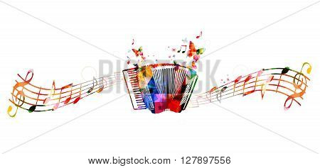 Vector illustration of colorful accordion with butterflies