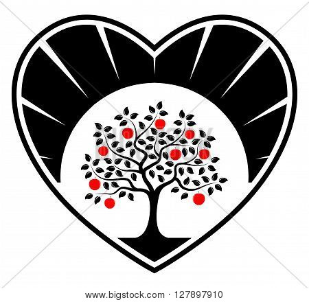vector apple tree in heart isolated on white background
