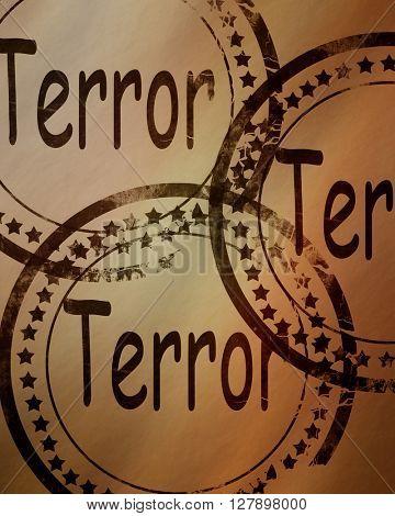Terror stamp on a grunge background