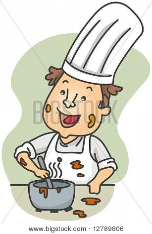 Illustration of a Dirty Chef Preparing Food