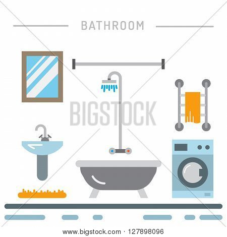 Elements for bathroom interior. Bathroom interior vector.
