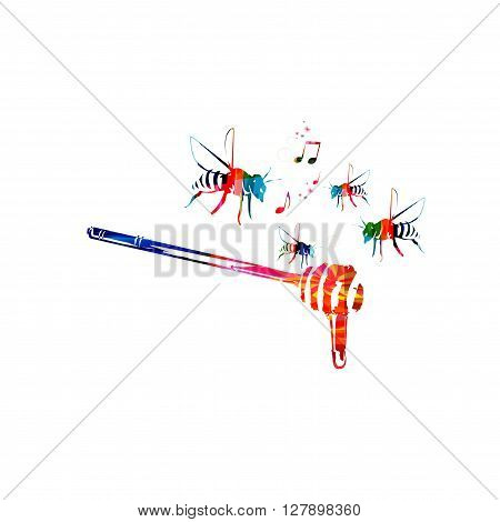 Vector illustration of colorful honey dipper with bees