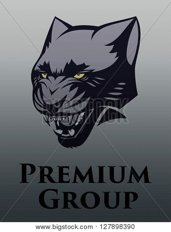 vector illustration of a black panther logo aggression