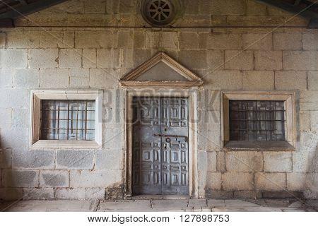 View of a door of a church in Labin Istria. Croatia