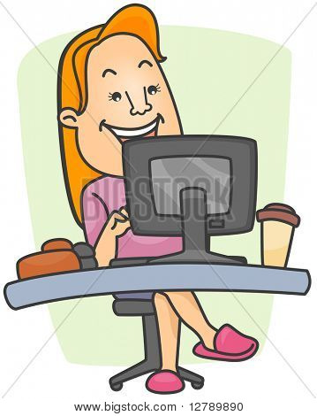 Ilustración de una mujer que llevaba zapatillas en su estación de trabajo