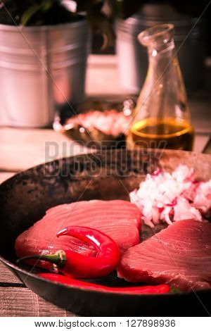 Tuna Steak In A Frying Pan With Chilli