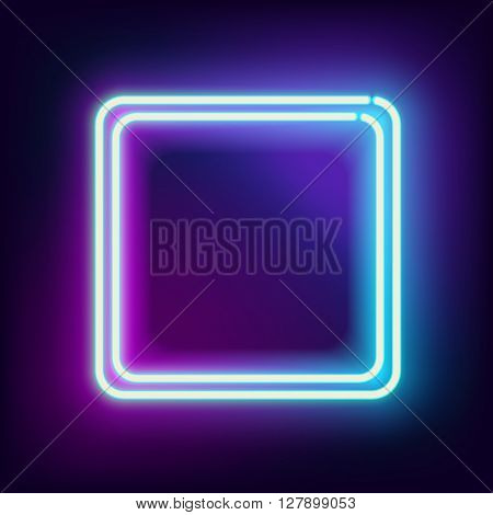 Neon square. Neon blue light. electric frame. Vintage frame. Retro neon lamp. Space for text. Glowing neon background. Abstract electric background. Neon sign square. Glowing electric frame