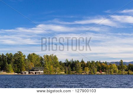 beautiful Mirror lake in Lake Placid, New York.