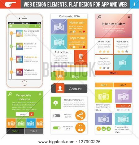Web disign elements for website or app.
