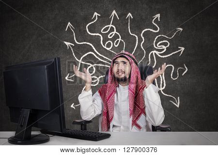 Picture of male Arabian entrepreneur wearing headscarf and looks confused to find solution