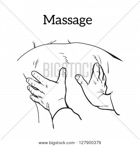 Hand massage, back massage, body massage. Types of massage. Set with image of massage. Hand massage. Massage therapy. Therapeutic manual massage. Relaxing therapy. Massage icons. Relaxation