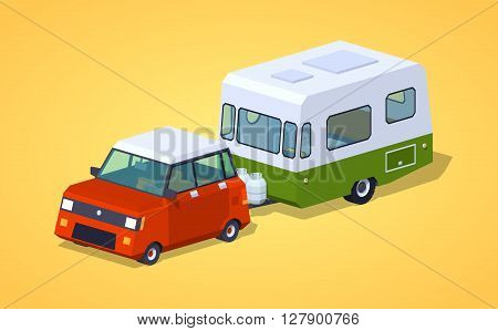Red hatchback with green-white motor home against the yellow background. 3D lowpoly isometric vector illustration