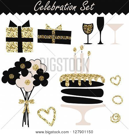 Celebration black and gold fashion birthday set objects. Wedding or feast event accessories. Bouquet, cake, wineglass, gift boxes.