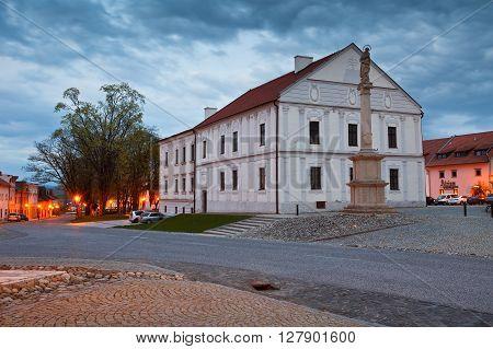 SPISSKA SOBOTA - APRIL 28, 2016: Square in the historic town of Spisska Sobota, Slovakia on April 28, 2016.