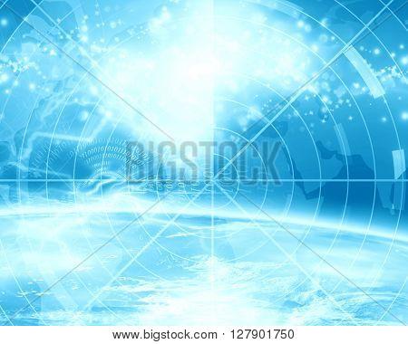 Blue radar screen