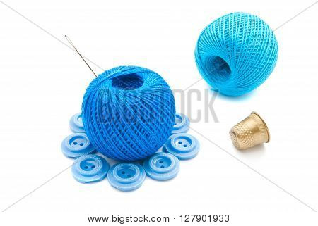 Needle, Buttons, Thimble And Thread