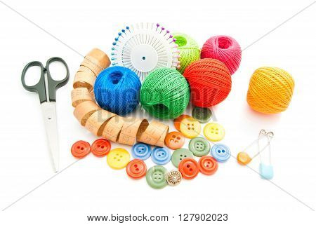 Meter, Pins, Scissors, Plastic Buttons And Thread