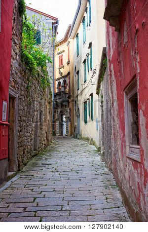 Alley of Labin little town in Istria Croatia