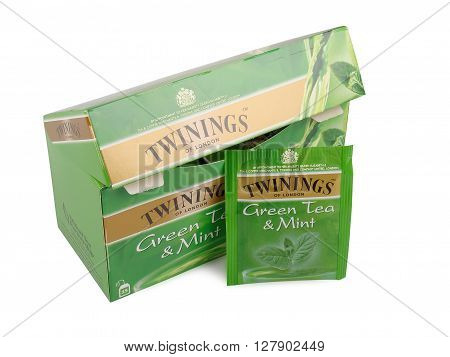 PULA, CROATIA - MAY 1, 2016: A studio shot of a box of Twinings Pure Green Tea. An English marketer of teait holds the world's oldest continually used company logo.