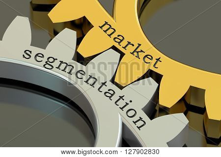 Market Segmentation concept on the gearwheels 3D rendering