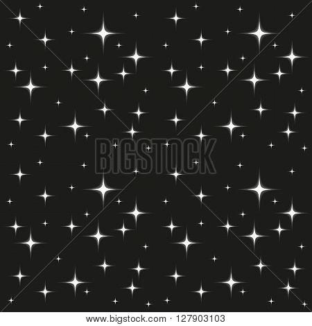 Glowing white stars seamless pattern on black background monochrome greyscale
