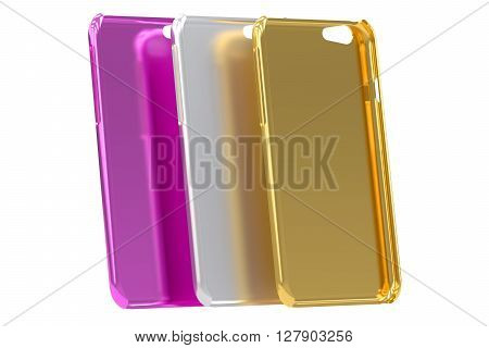 Multicolor Mobile Phone plastic cases isolated on white background