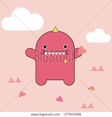 Cute pink monster vector illustration with hearts and clouds on light pinky background.