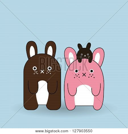 Three funny animals or monsters on a blue background Vector flat illustrations.