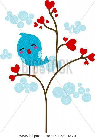 Illustration of a Lone Lovebird Perched on a Tree