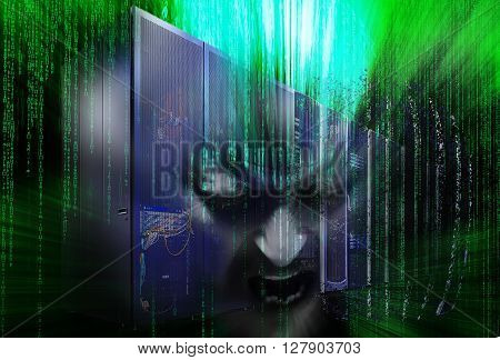with binary code disintegration of mainframe hacker