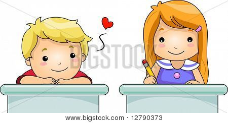 Illustration of a Boy Stealing Glances from His Female Classmate