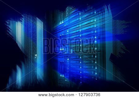futuristic design art design of mainframe in the data center
