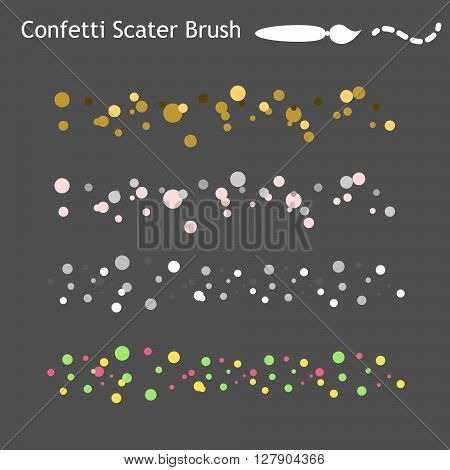 Confetti scatter brushes saved in panel. Gold and colorful celebration brushes. Ready for use vector brushes.