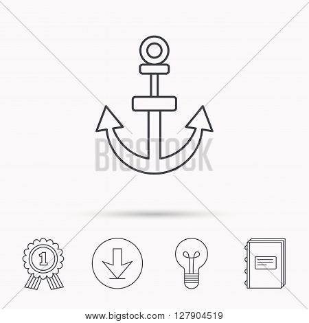 Anchor icon. Nautical drogue sign. Sea and sailing symbol. Download arrow, lamp, learn book and award medal icons.